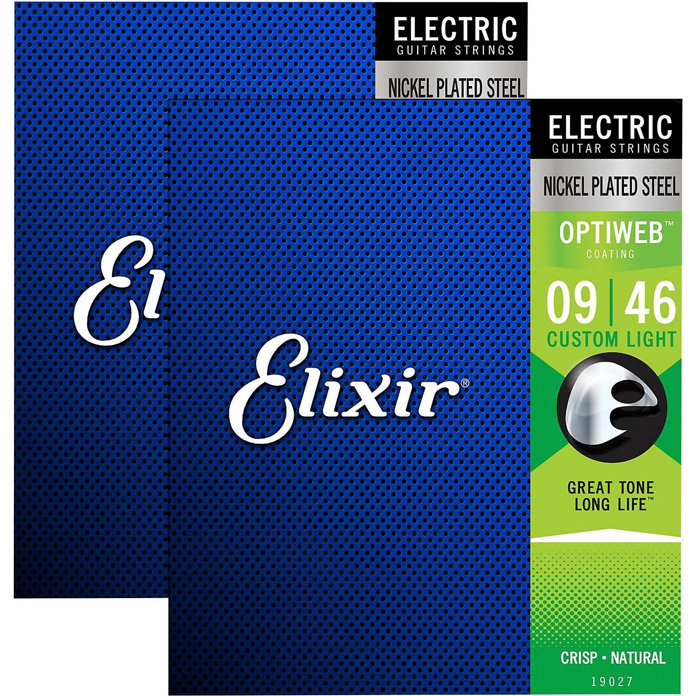 Elixir Electric Guitar Strings with OPTIWEB Coating, Custom Light (.009-.046) - 2 Pack thumbnail