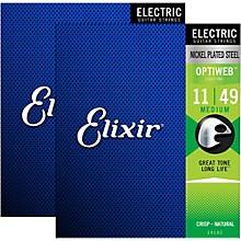 Elixir Electric Guitar Strings with OPTIWEB Coating, Medium (.011-.049) - 2 Pack