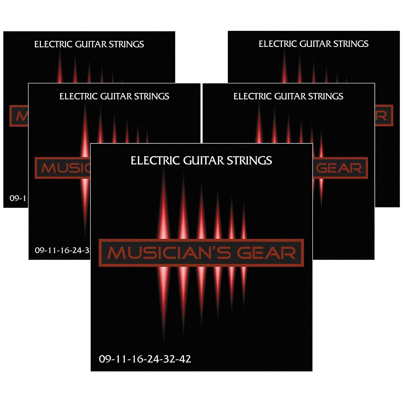 Musician's Gear Electric Nickel Plated Steel Guitar Strings 9-42 - 5-Pack thumbnail
