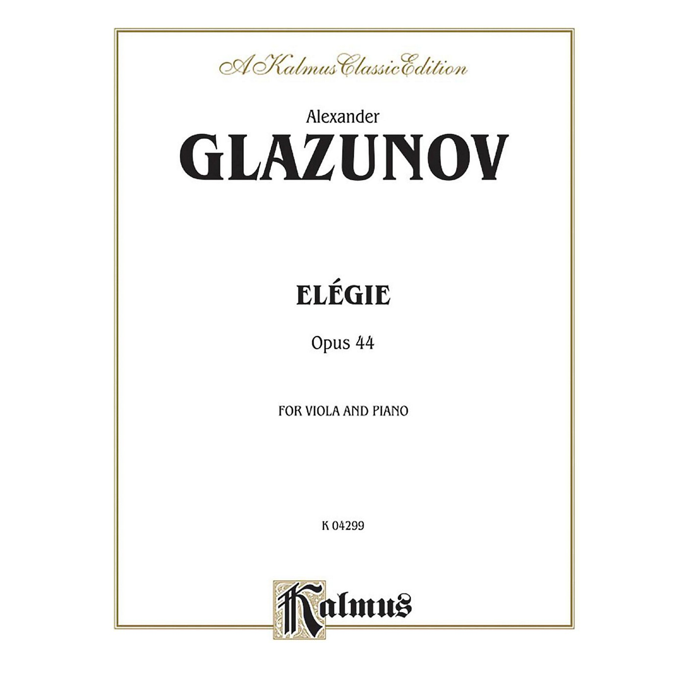 Alfred Elegie for Viola Op. 44 for Viola By Alexander Glazunov Book thumbnail
