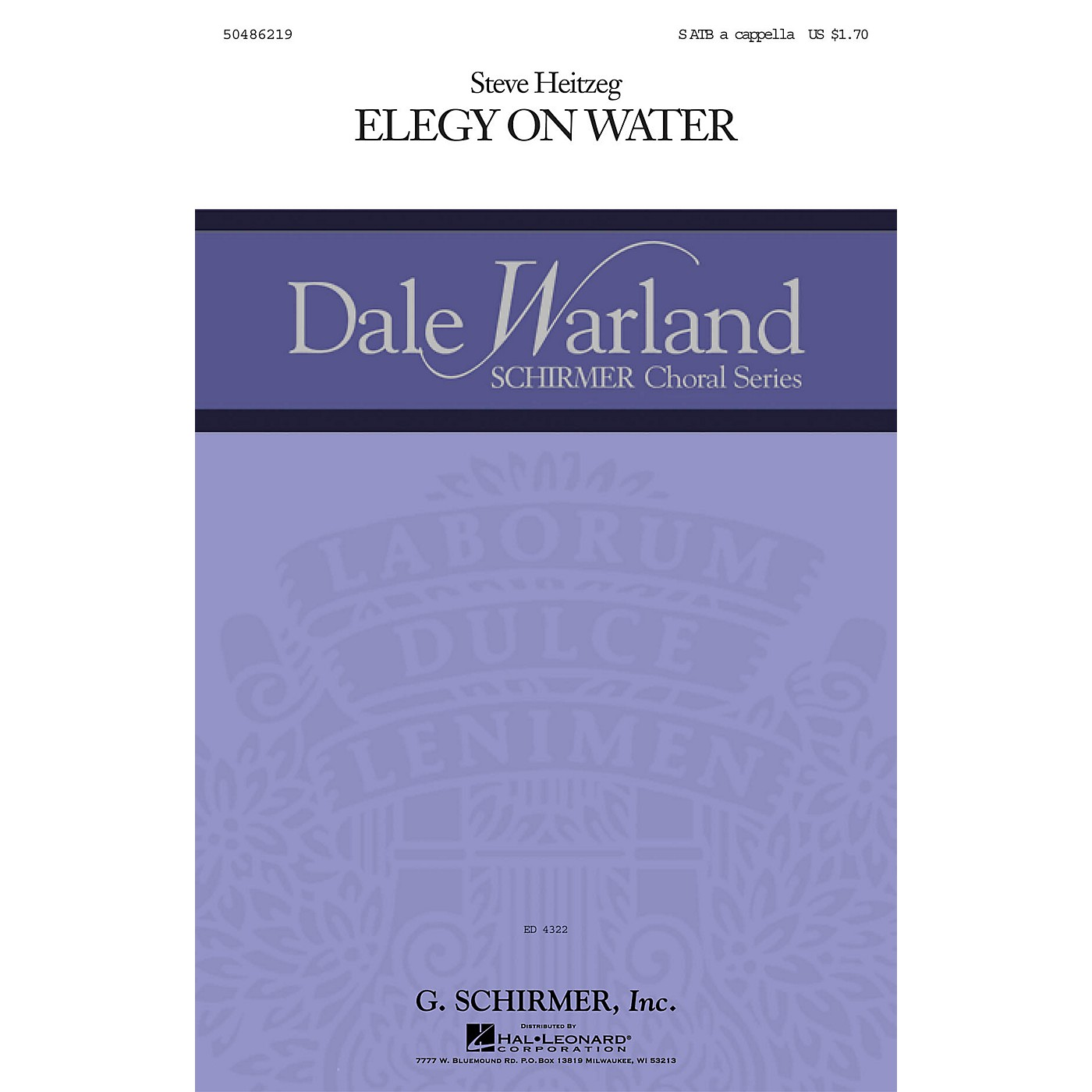 G. Schirmer Elegy on Water SATB a cappella composed by Steve Heitzeg thumbnail