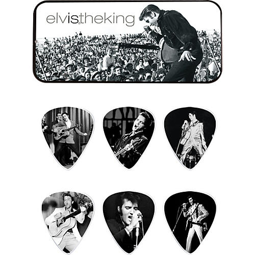 Dunlop Elvis the King Pick Tin with 6 Medium Picks-thumbnail