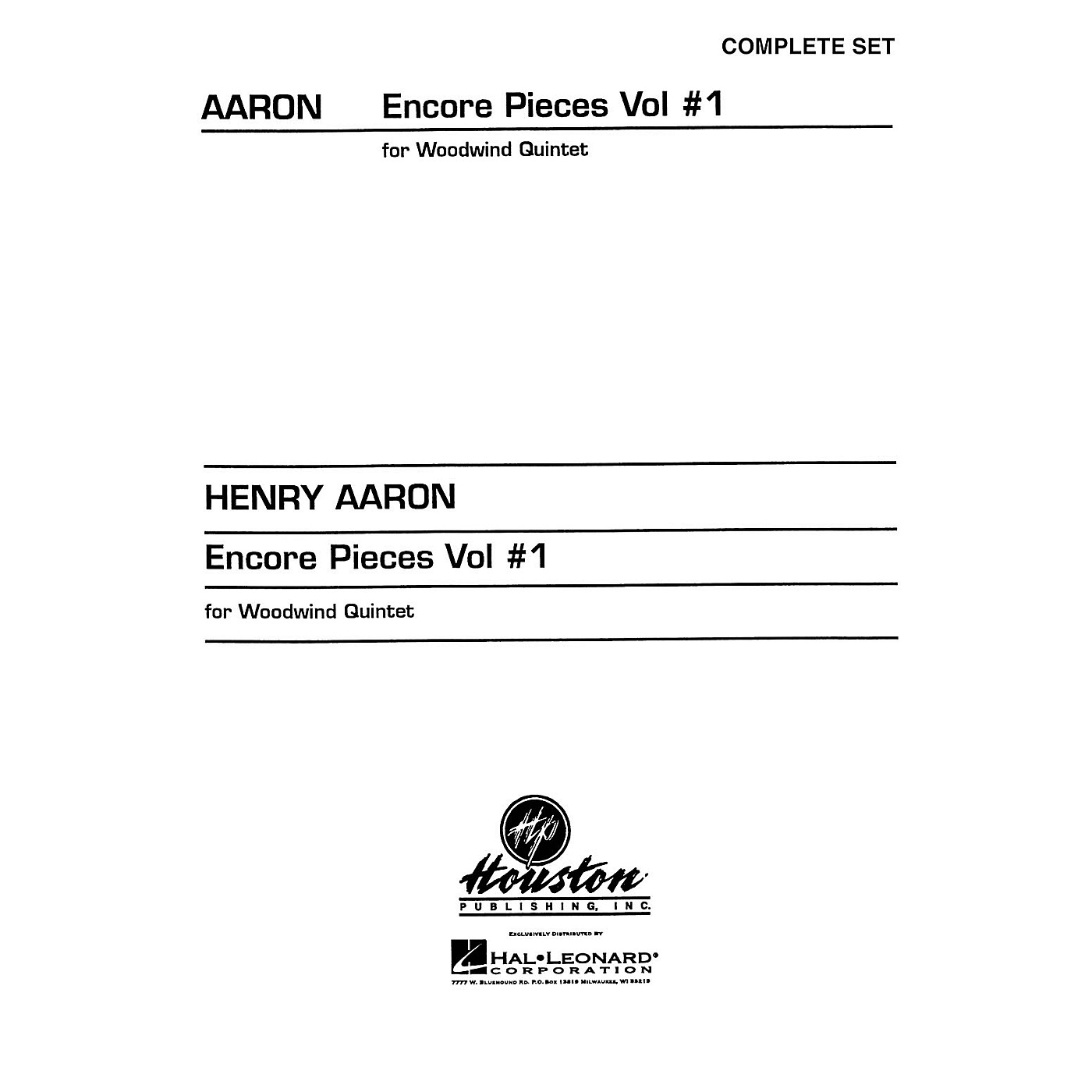 Hal Leonard Encore Pieces for Woodwind Quintet - Volume 1 (Complete Set) Houston Publishing Series thumbnail