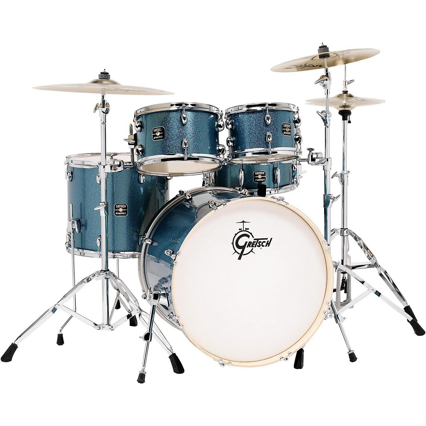 Gretsch Drums Energy 5-Piece Drum Set Blue Sparkle with Hardware and Zildjian Cymbals thumbnail