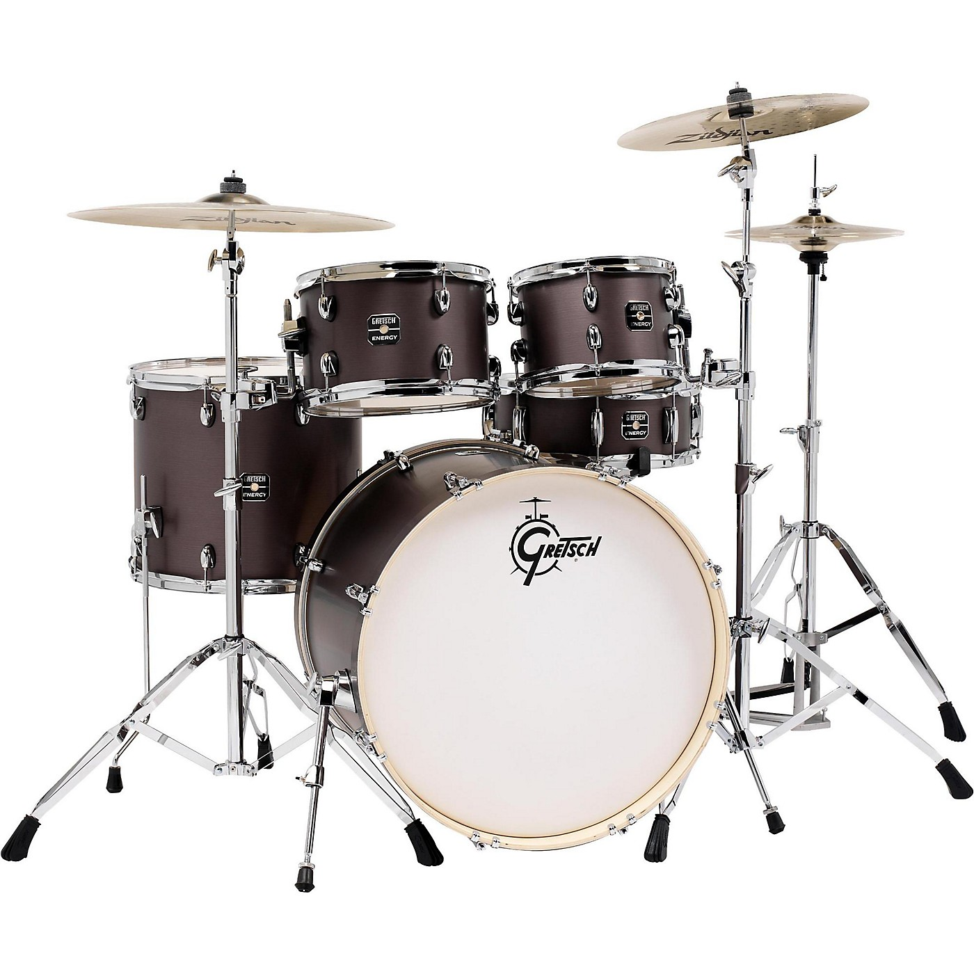 Gretsch Drums Energy 5-Piece Drum Set Brushed Grey with Hardware and Zildjian Cymbals thumbnail
