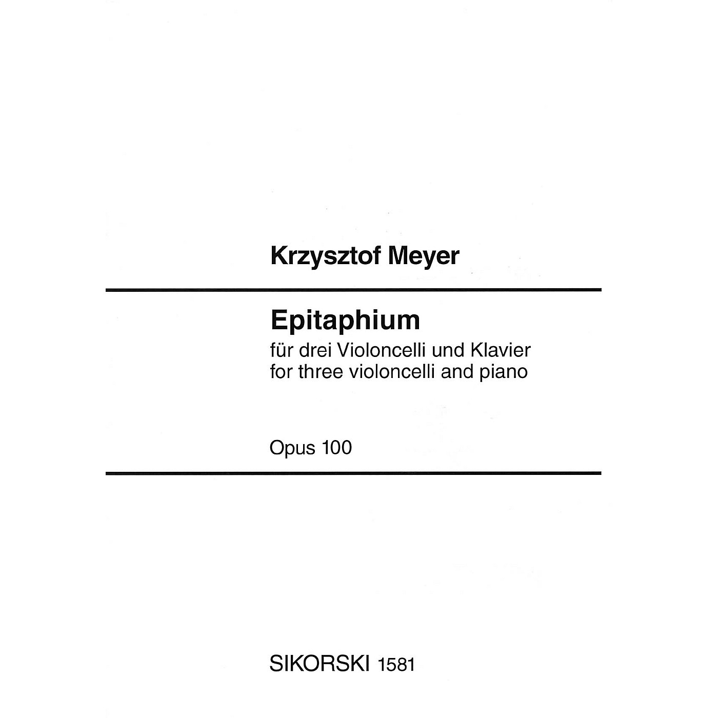 Sikorski Epitaphium, Op. 100 (2004) (Score and Parts) Ensemble Series Composed by Krzysztof Meyer thumbnail
