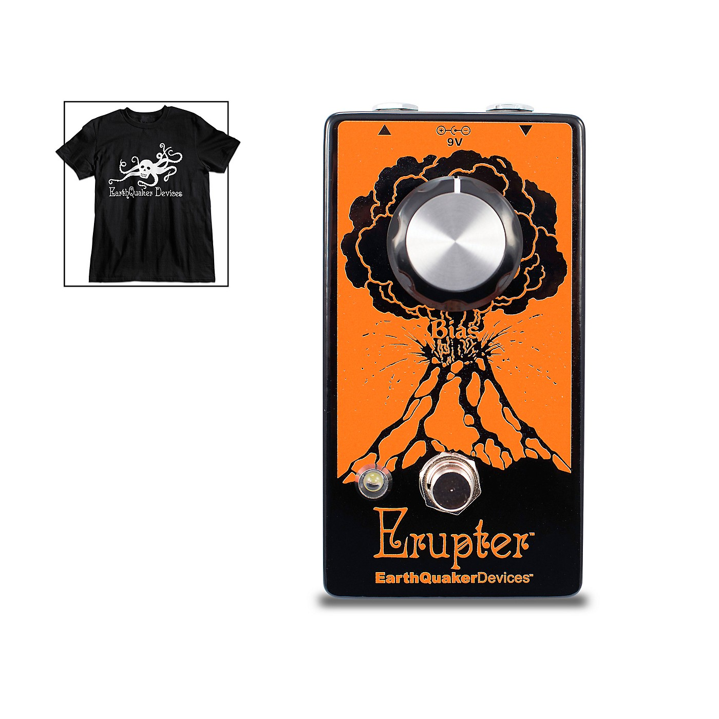 Earthquaker Devices Erupter Fuzz Effects Pedal and Octoskull T-Shirt Large Black thumbnail