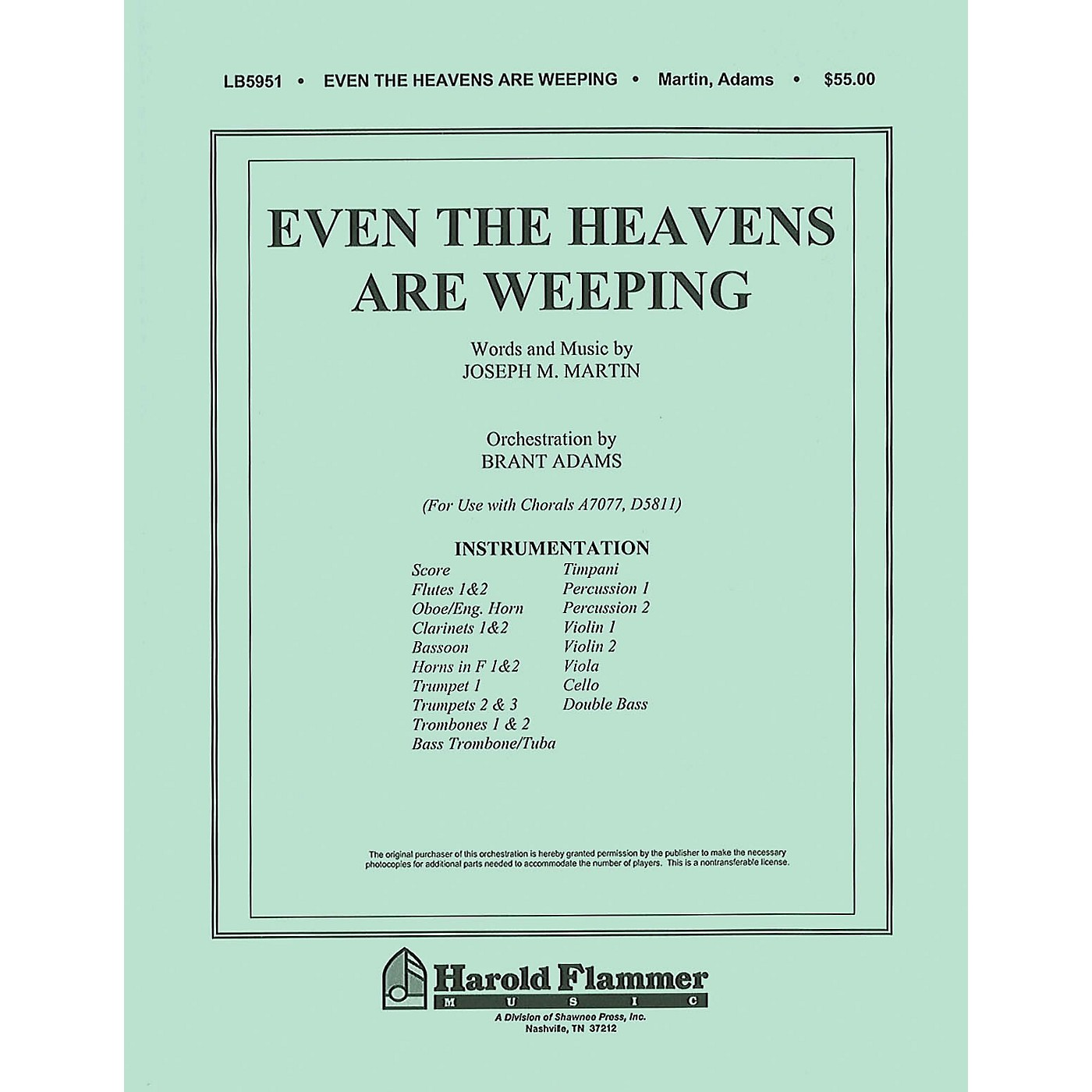 Shawnee Press Even the Heavens are Weeping Score & Parts composed by Joseph M. Martin thumbnail