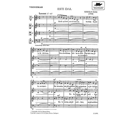 Editio Musica Budapest Evening Song Satb Esti Dal (SATB Hungarian Text) Composed by Zoltán Kodály thumbnail