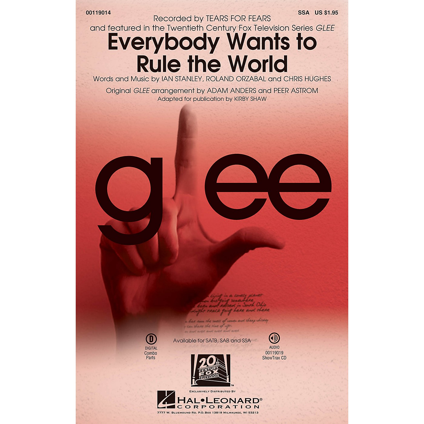 Hal Leonard Everybody Wants to Rule the World SSA by Glee Cast arranged by Adam Anders thumbnail