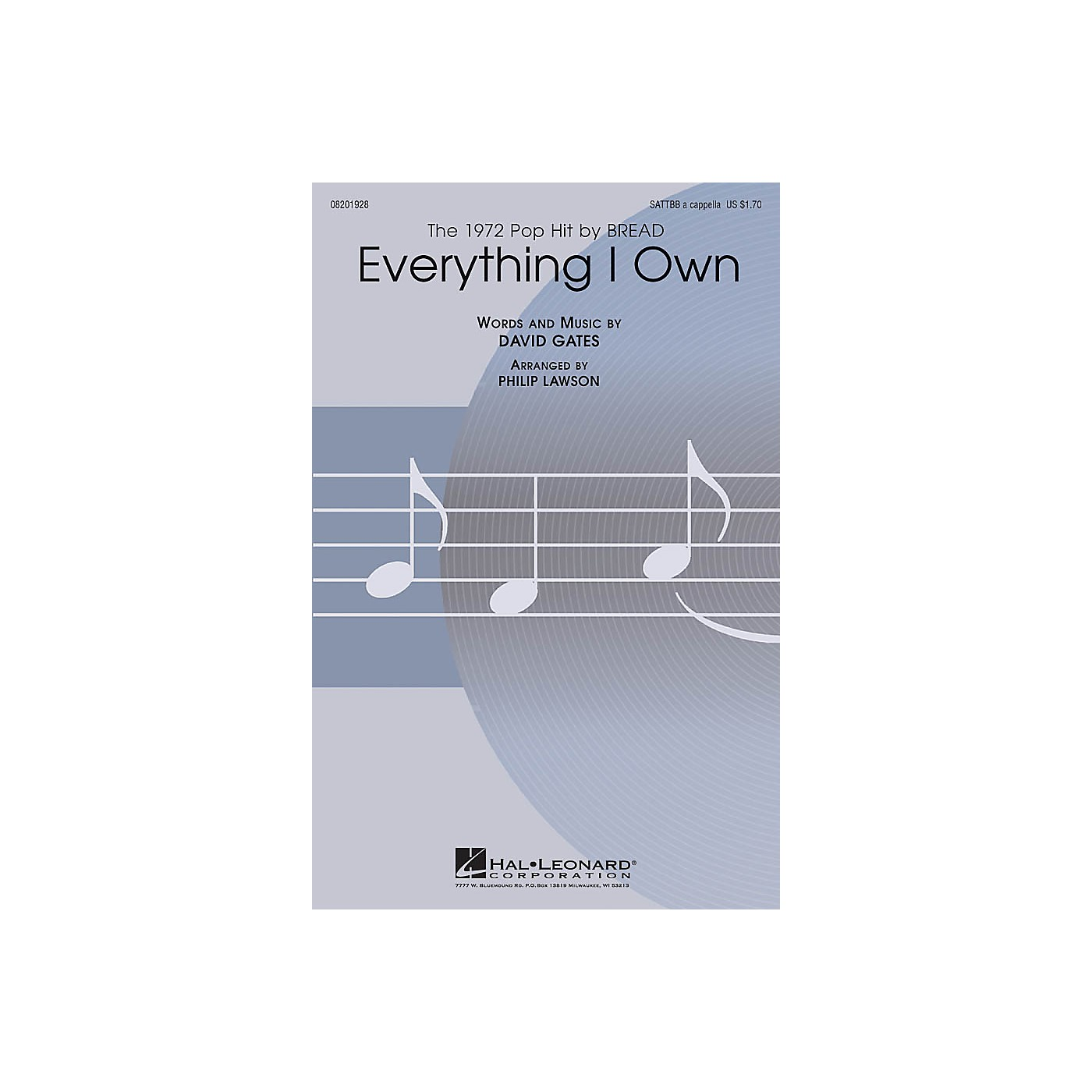Hal Leonard Everything I Own SATTBB A Cappella by Bread arranged by Philip Lawson thumbnail