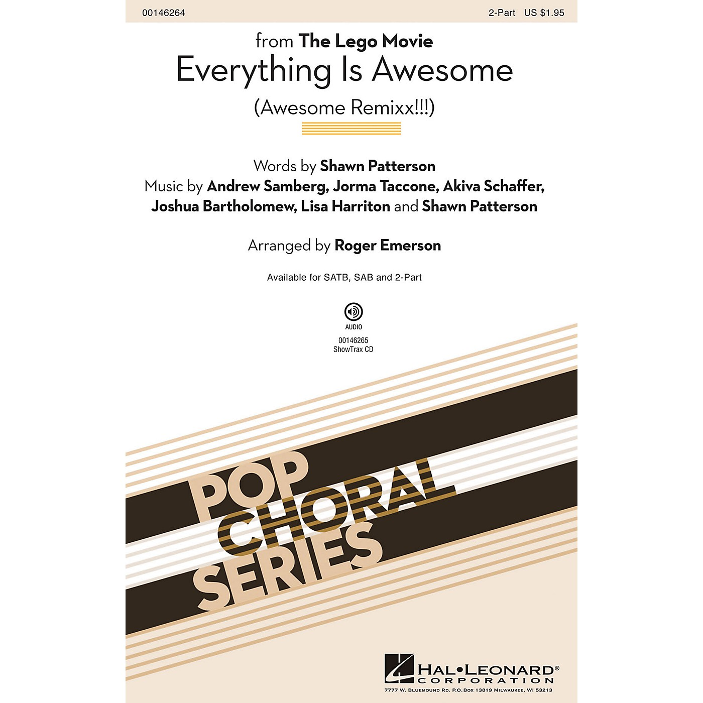 Hal Leonard Everything Is Awesome (from The Lego Movie) 2-Part arranged by Roger Emerson thumbnail