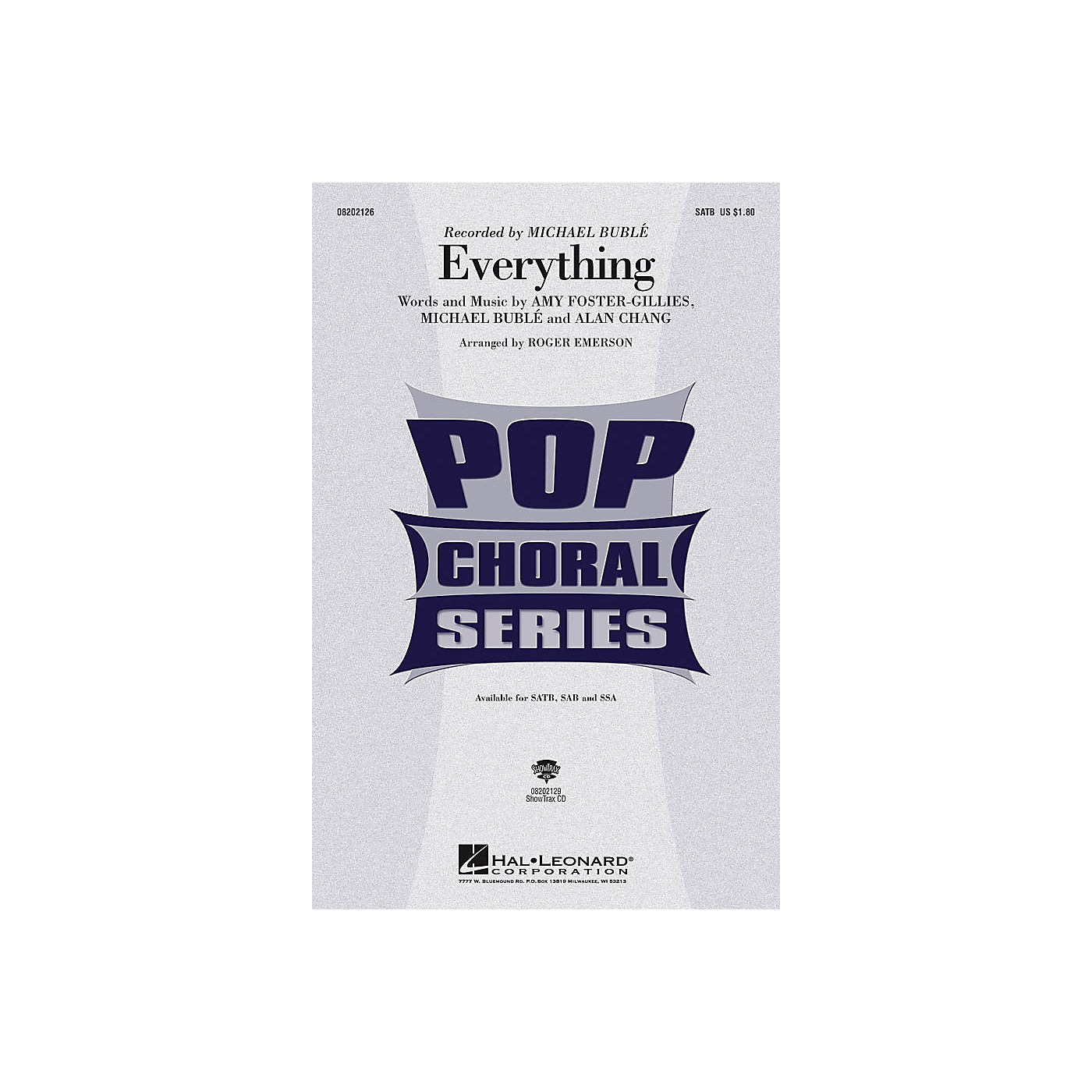 Hal Leonard Everything SAB by Michael Bublé Arranged by Roger Emerson thumbnail