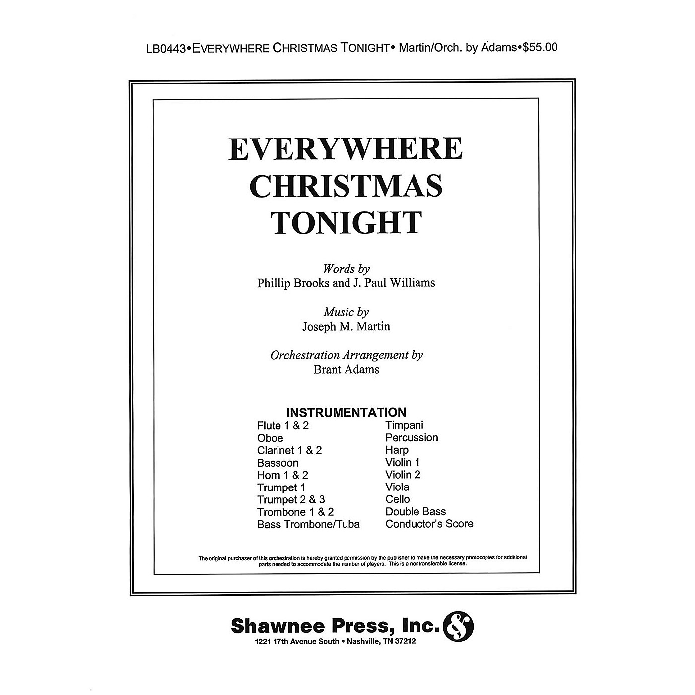 Shawnee Press Everywhere Christmas Tonight INSTRUMENTAL ACCOMP PARTS composed by J. Paul Williams thumbnail