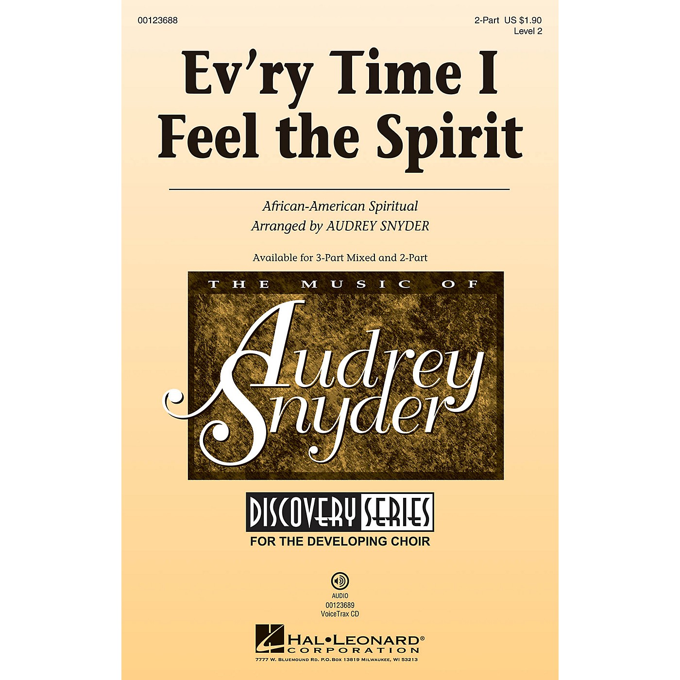 Hal Leonard Ev'ry Time I Feel The Spirit (Discovery Level 2) 2-Part arranged by Audrey Snyder thumbnail