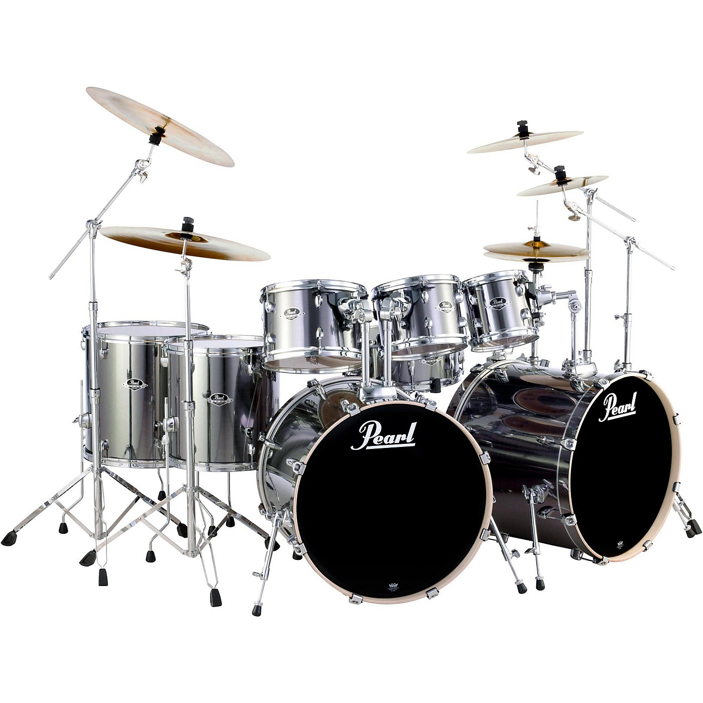 Pearl Smokey Chrome Export Double Bass 8-Piece Drum Set ...