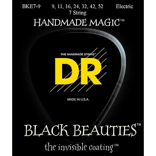 DR Strings Extra Life BKE7-9 Black Beauties Coated Light Electric Guitar Strings - 7 String Set thumbnail