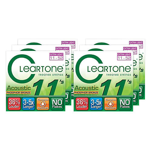 Cleartone Extra Light Acoustic Guitar Strings 6 Pack-thumbnail