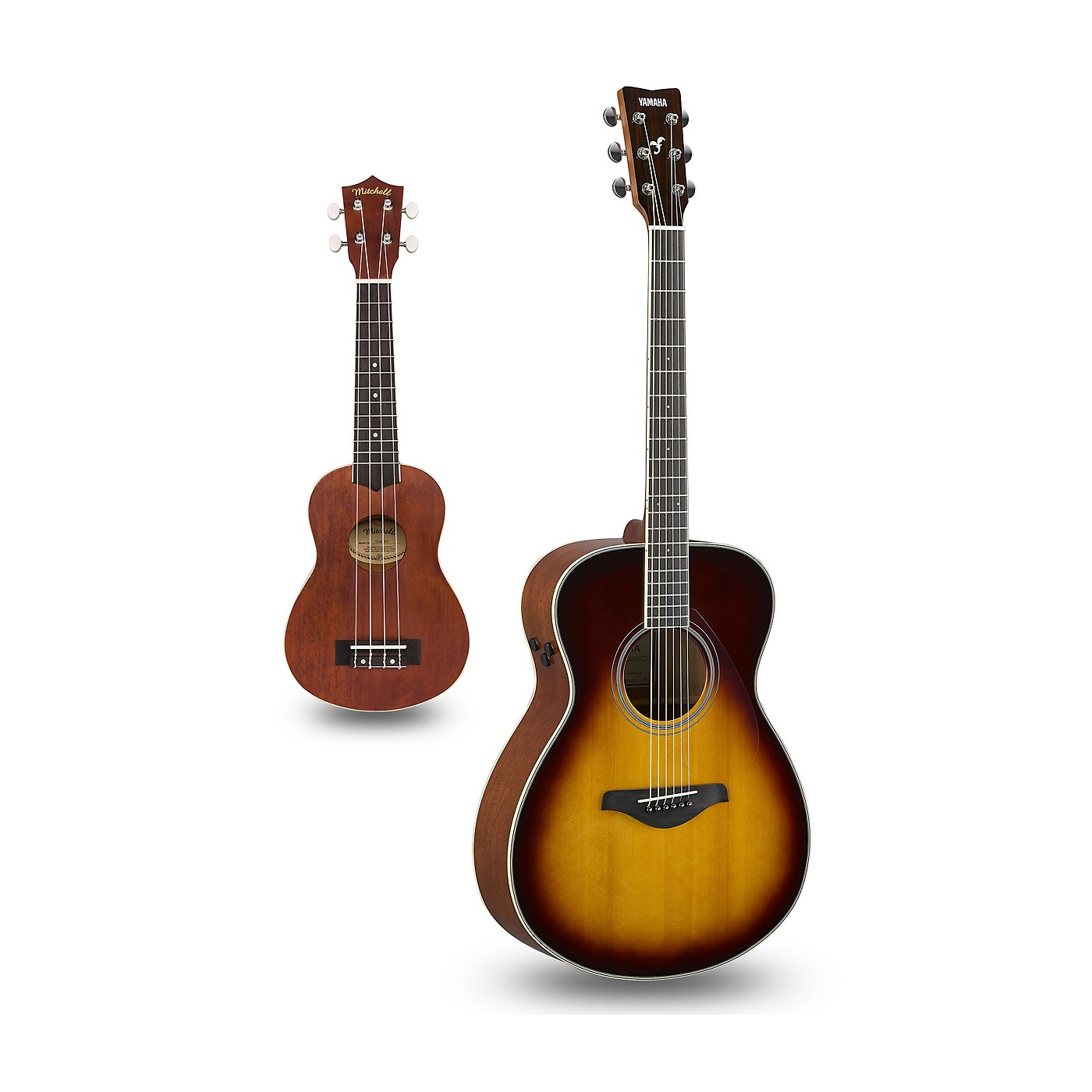Yamaha FS-TA TransAcoustic Concert Acoustic-Electric Guitar and Ukulele Package thumbnail