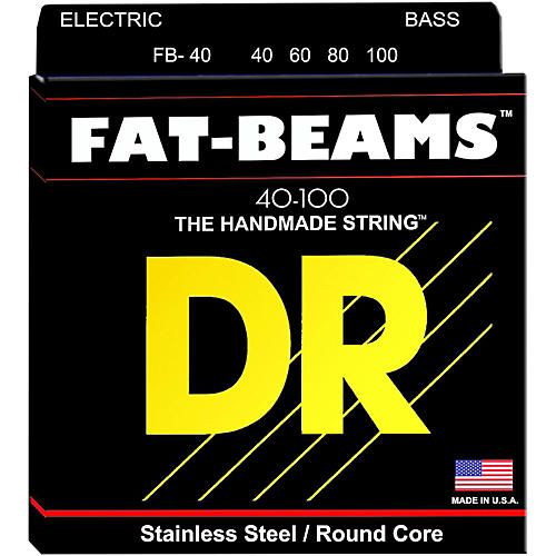 DR Strings Fat-Beams Stainless Steel Lite 4-String Bass Strings (40-100) thumbnail