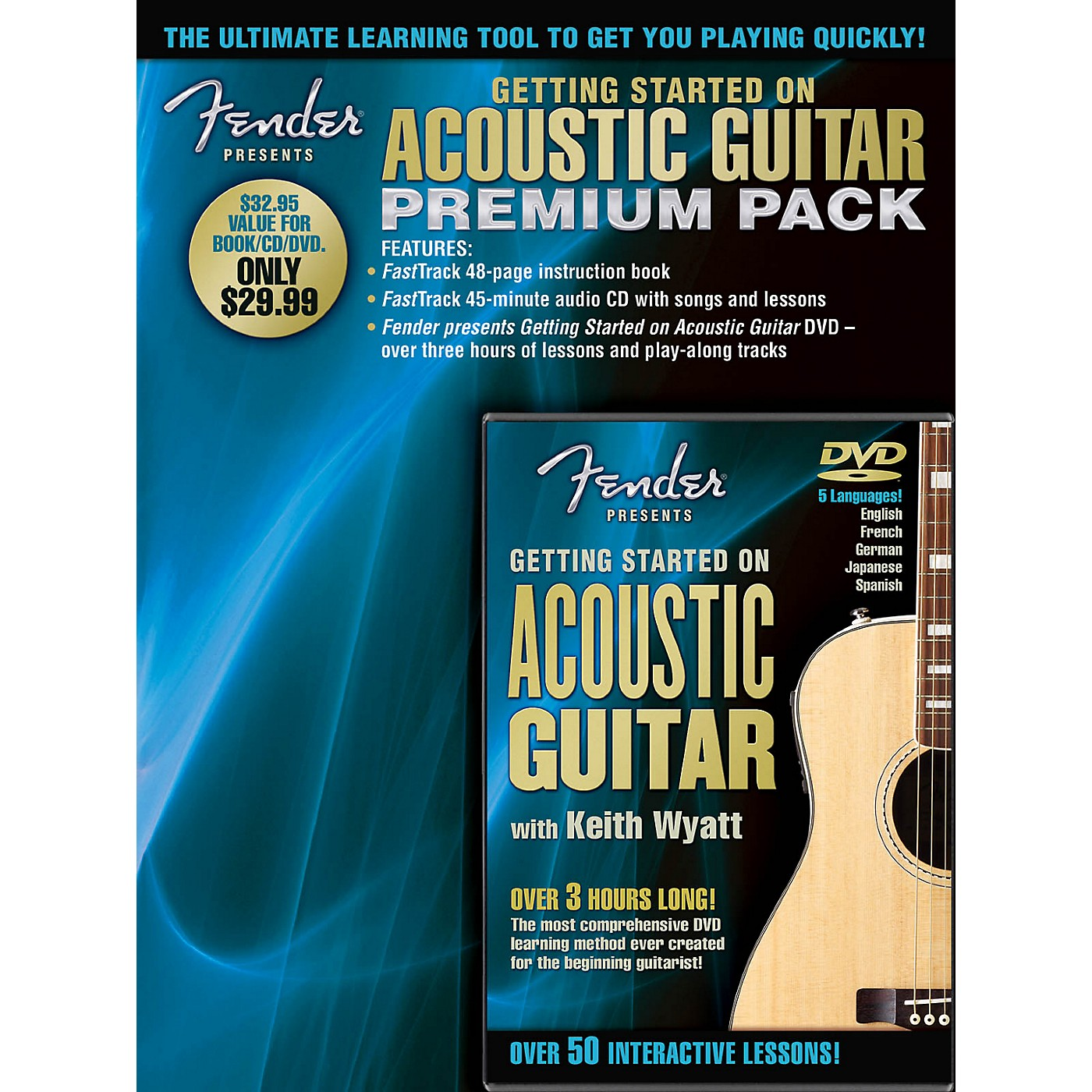 Hal Leonard Fender Presents Getting Started On Acoustic Guitar Premium Pack Book/CD/DVD thumbnail