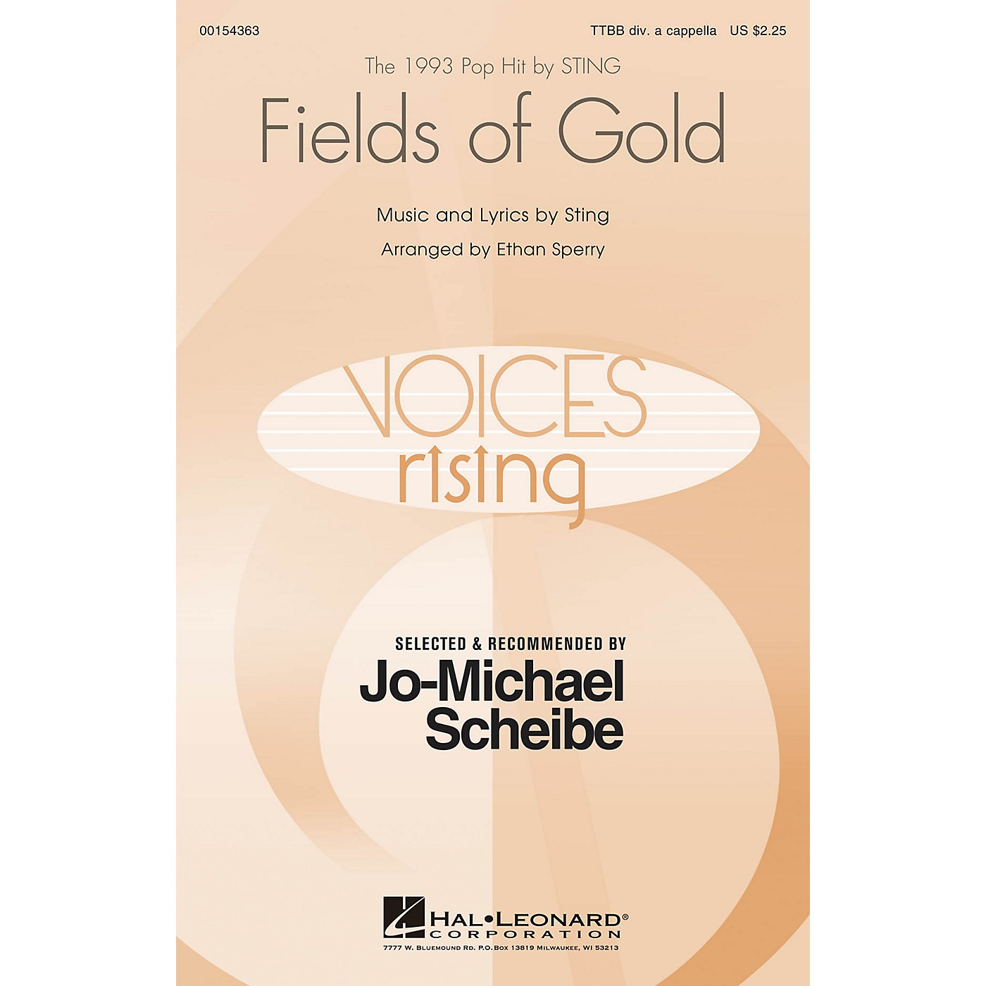 Hal Leonard Fields of Gold (Selected by Jo-Michael Scheibe) TTBB A Cappella by Sting arranged by Ethan Sperry thumbnail