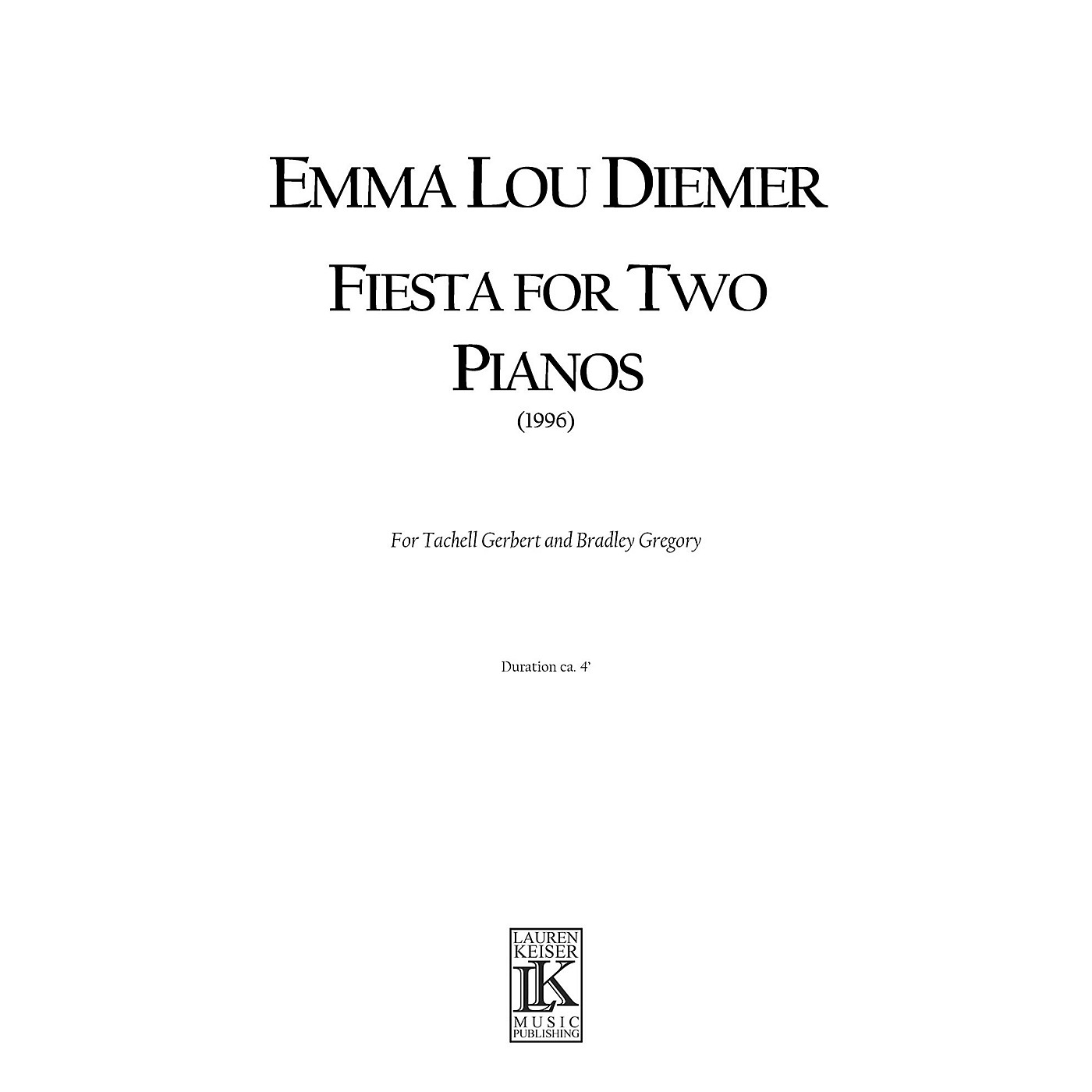 Lauren Keiser Music Publishing Fiesta for Two Pianos LKM Music Series thumbnail