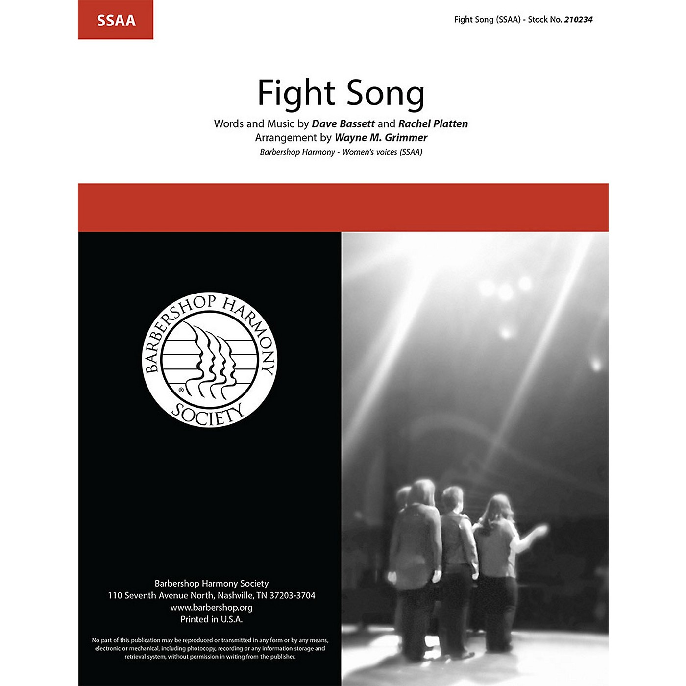 Barbershop Harmony Society Fight Song SSAA A Cappella arranged by Wayne Grimmer thumbnail