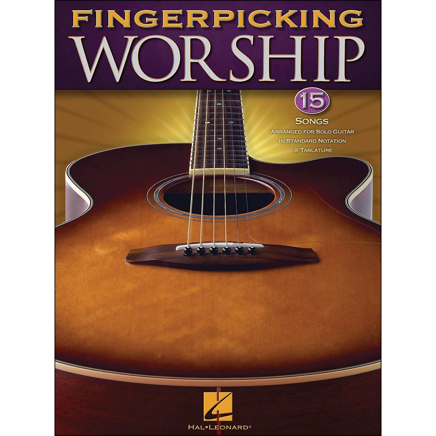 Hal Leonard Fingerpicking Worship 15 So Ngs Arranged for Solo Guitar In Standard Notation & Tab thumbnail