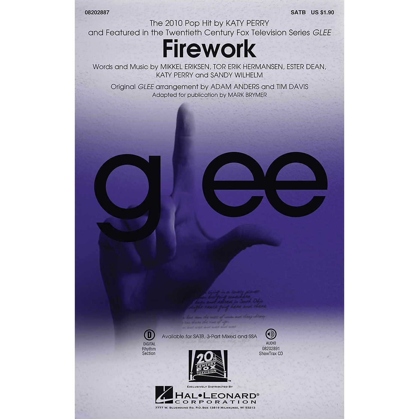 Hal Leonard Firework (featured in Glee) SATB by Katy Perry arranged by Adam Anders thumbnail