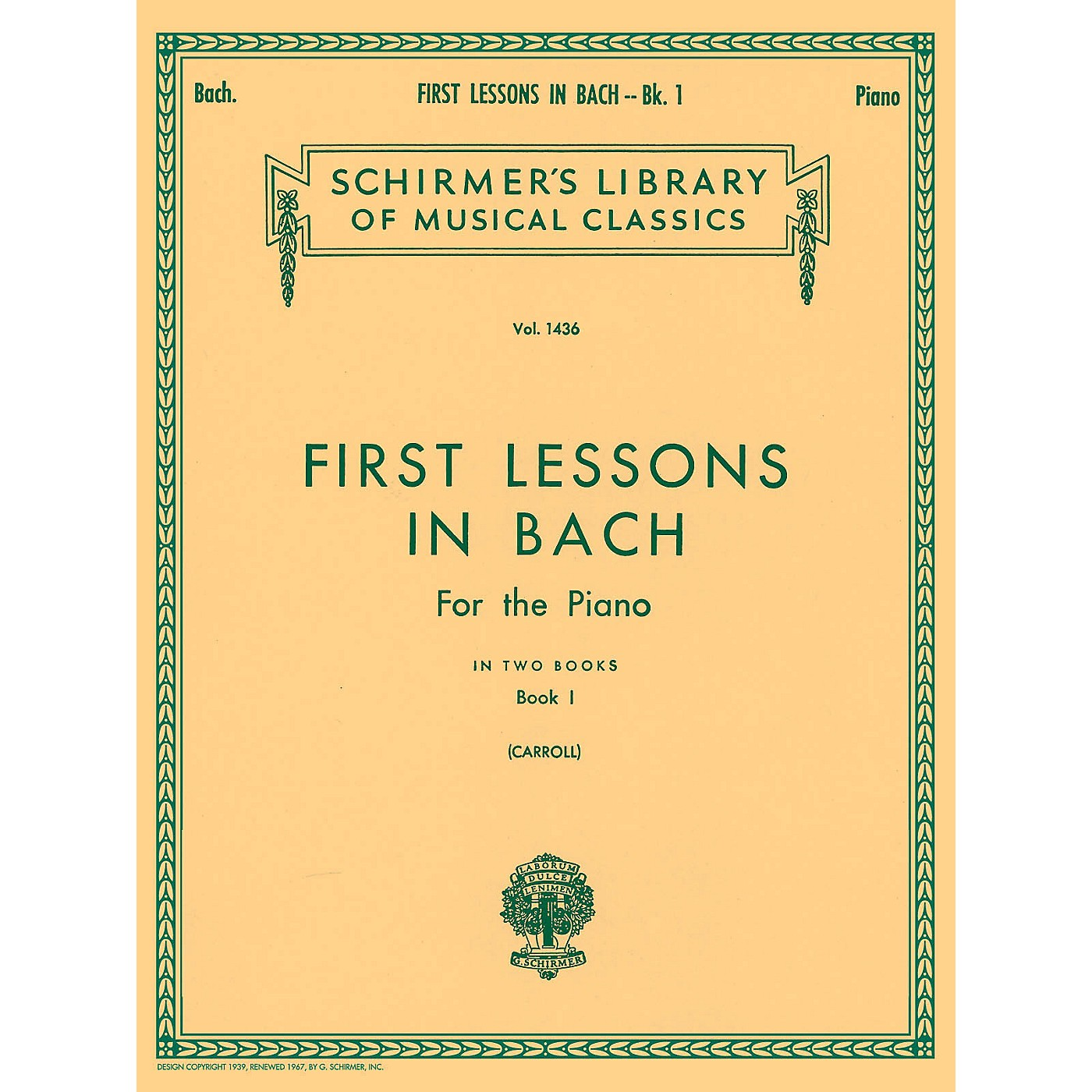 G. Schirmer First Lessons In Bach Bk 1 Piano Solo 16 Short Pieces thumbnail