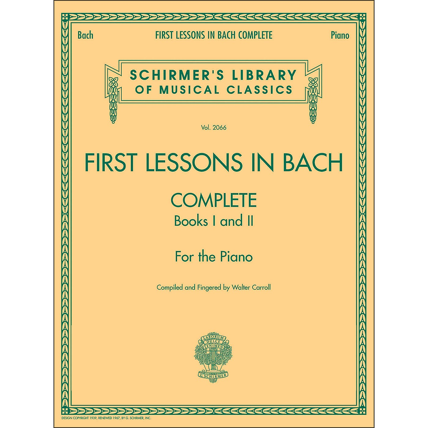 G. Schirmer First Lessons In Bach Complete Books I And 2 Piano By Bach thumbnail