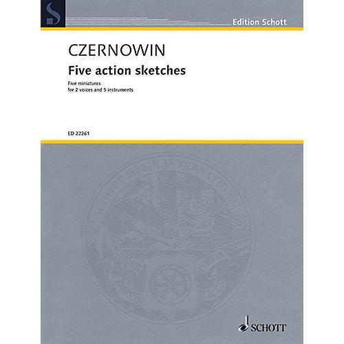 Schott Five Action Sketches (for 2 Voices and Ensemble (Score and Parts)) Ensemble Series Book thumbnail
