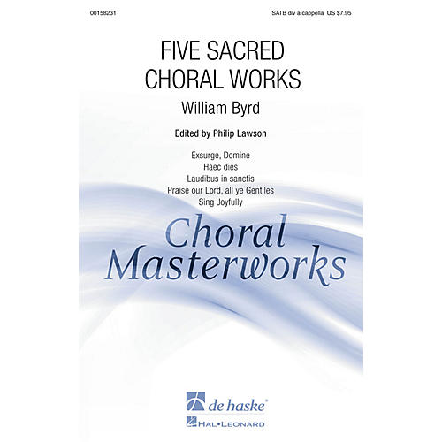 De Haske Music Five Sacred Choral Works (Collection) SATB DV A Cappella composed by William Byrd thumbnail