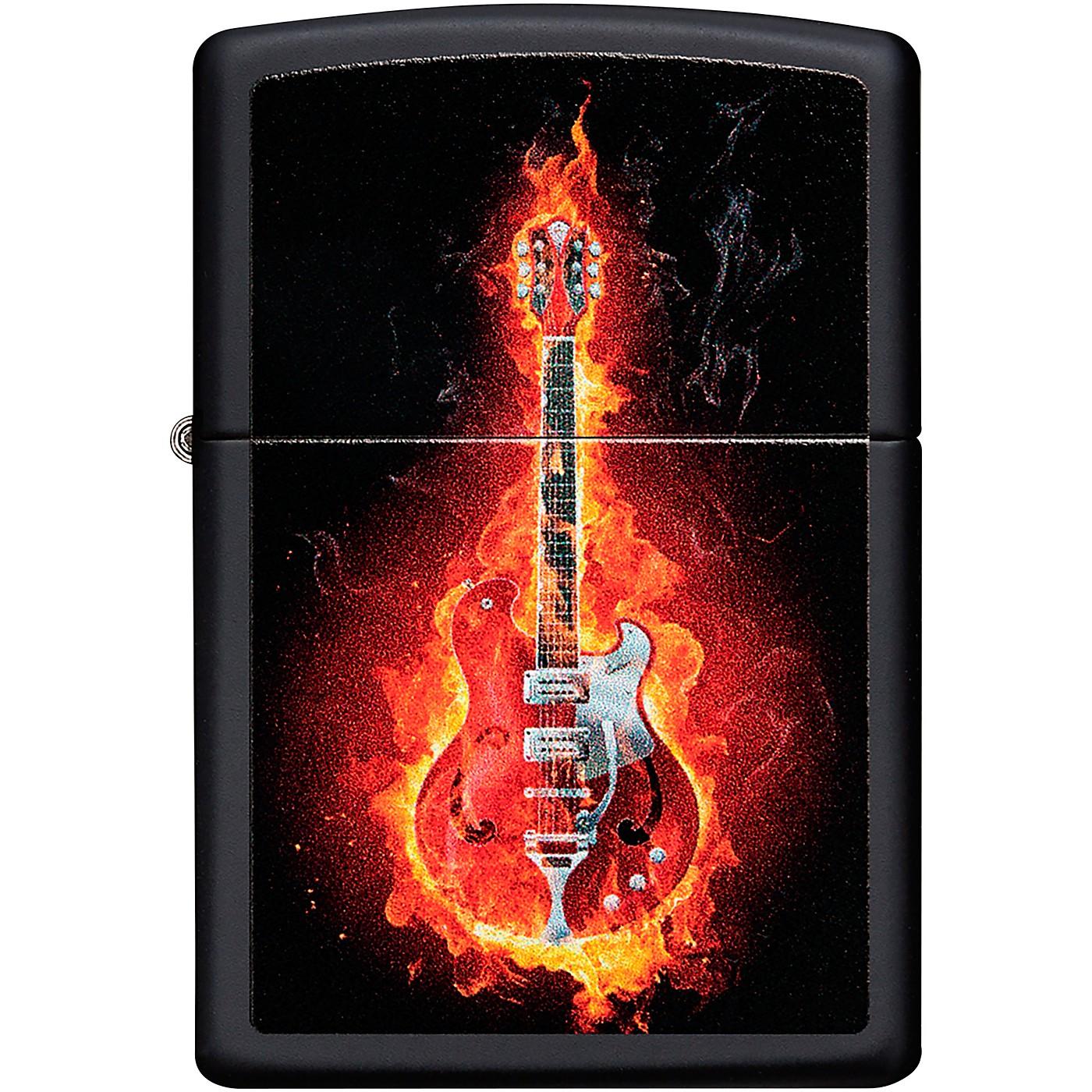 Zippo Flaming Guitar Lighter - Black Matte thumbnail
