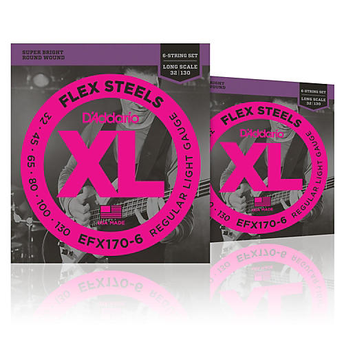 D'Addario FlexSteels Long Scale Bass Strings (32-130) 6-String - 2-Pack thumbnail