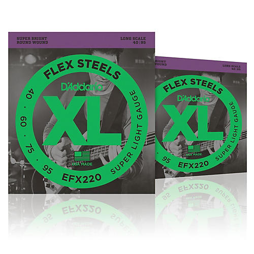 D'Addario FlexSteels Long Scale Bass Strings (40-95) - 2-Pack-thumbnail