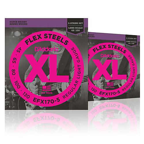 D'Addario FlexSteels Long Scale Bass Strings (45-130) 5-String - 2-Pack thumbnail