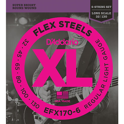 D'Addario Flexsteels Long Scale 6-String Bass Guitar Strings (32-130) thumbnail