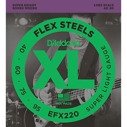 D'Addario Flexsteels Long Scale Bass Guitar Strings (40-95) thumbnail