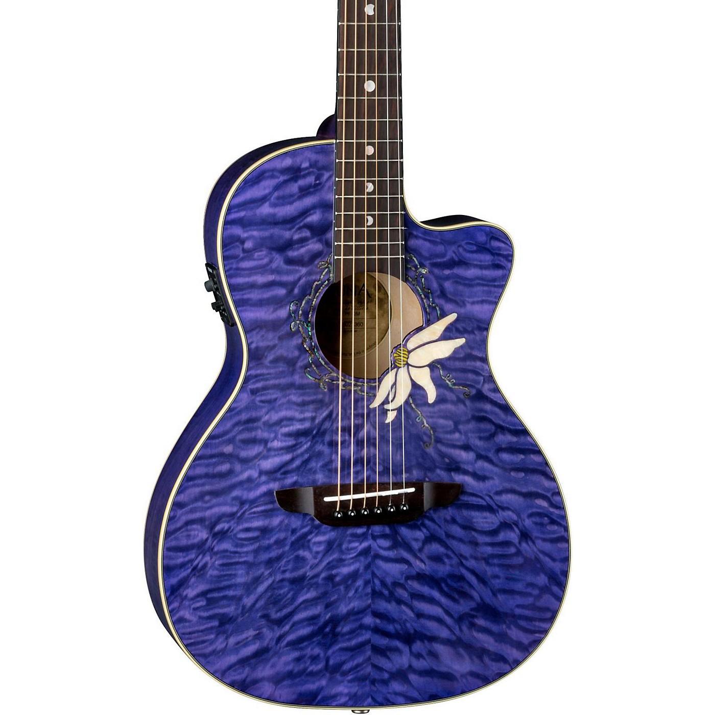 Luna Guitars Flora Passion Flower Quilt Maple Parlor Acoustic-Electric Guitar thumbnail