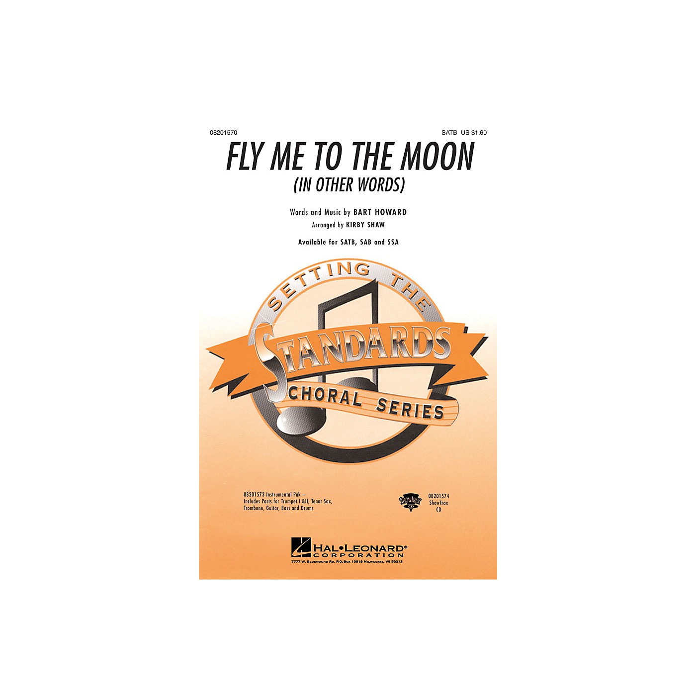 Hal Leonard Fly Me To The Moon (In Other Words) Combo Parts Arranged by Kirby Shaw thumbnail