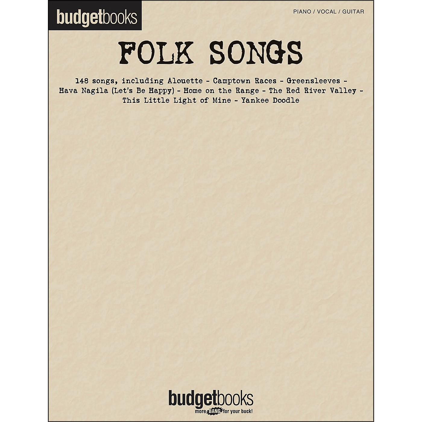 Hal Leonard Folk Songs Budget Book arranged for piano, vocal, and guitar (P/V/G) thumbnail