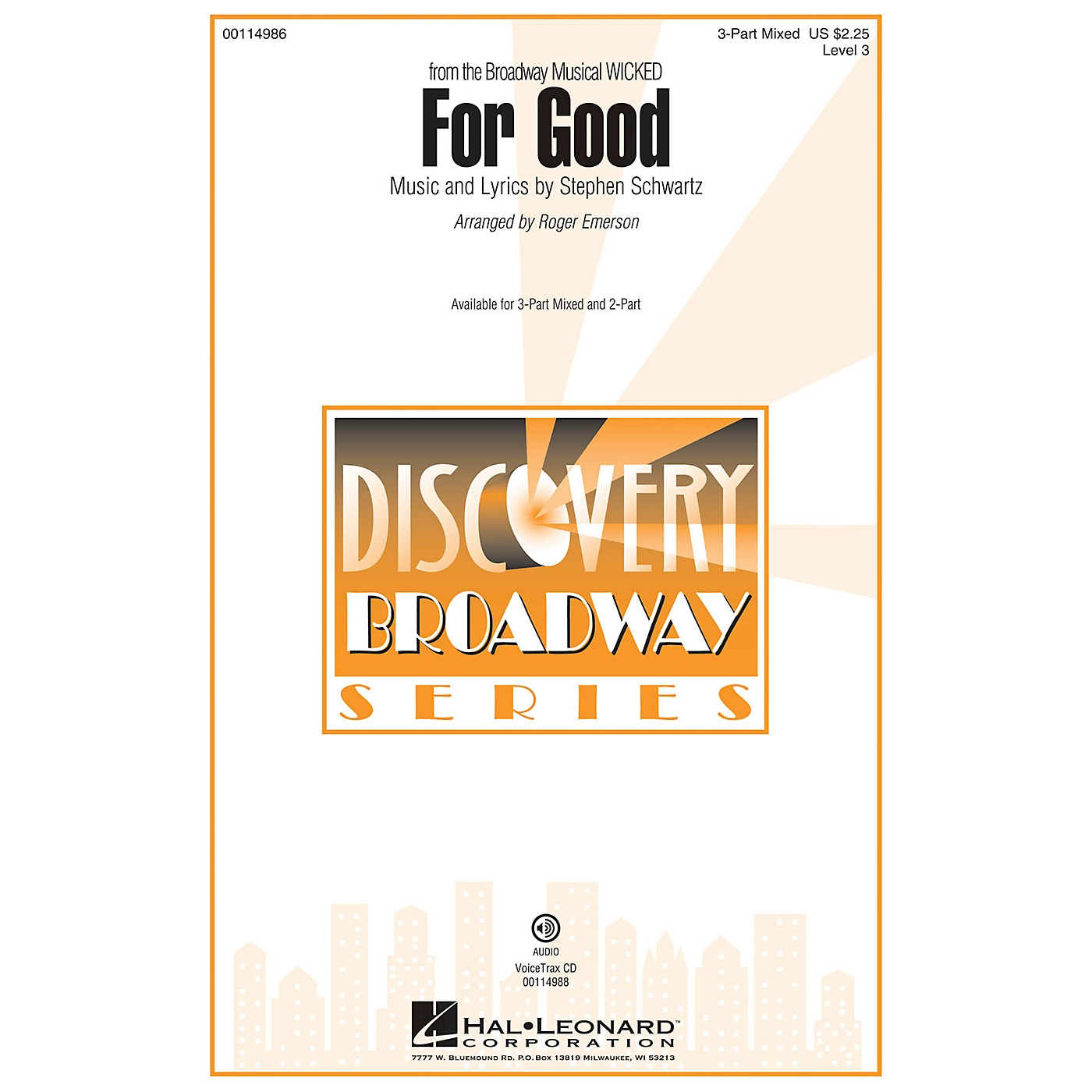 Hal Leonard For Good (Discovery Level 3 3-Part Mixed) 3-Part Mixed arranged by Roger Emerson thumbnail