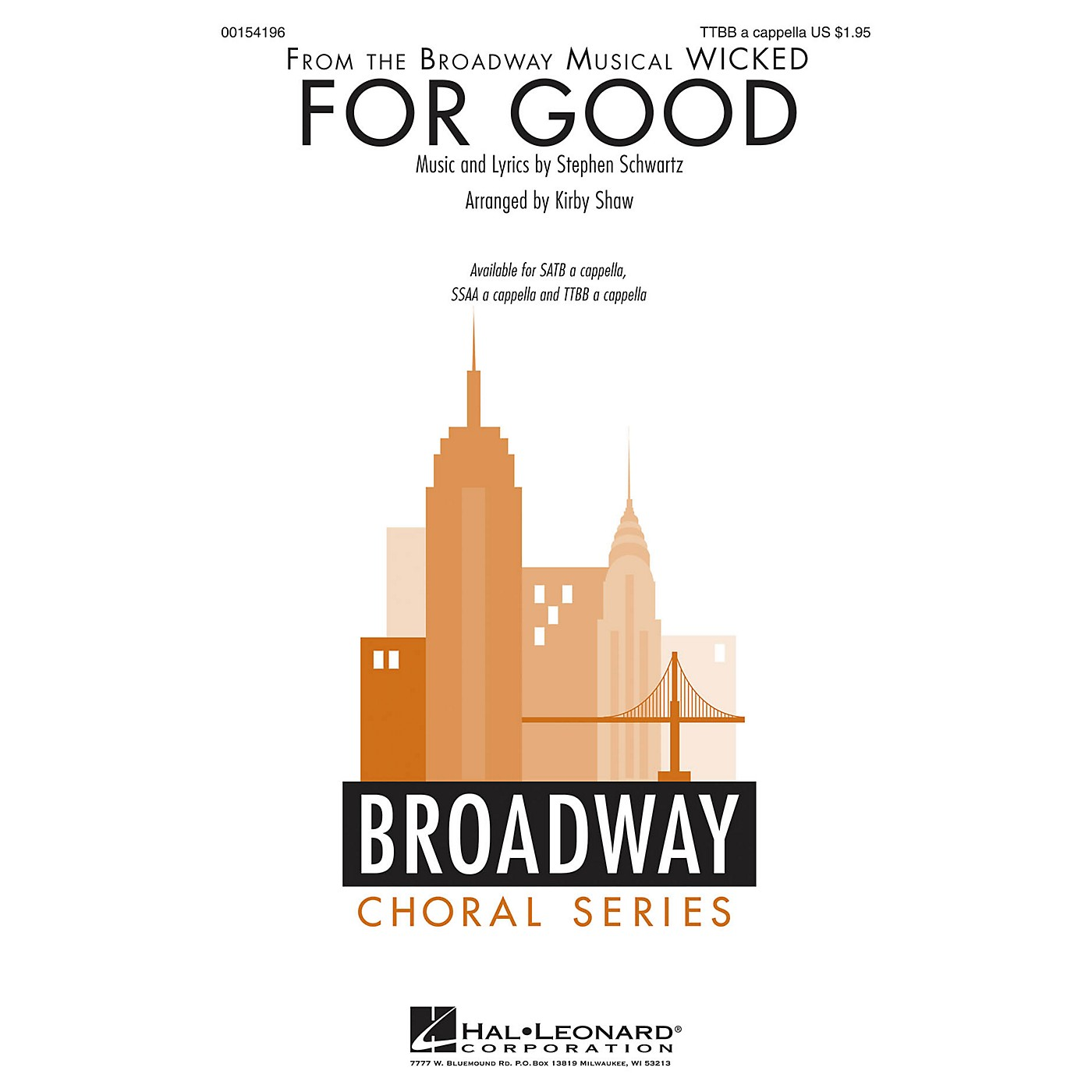 Hal Leonard For Good (from Wicked) TTBB A Cappella arranged by Kirby Shaw thumbnail