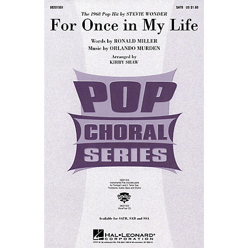 Hal Leonard For Once in My Life SSA by Stevie Wonder Arranged by Kirby Shaw thumbnail