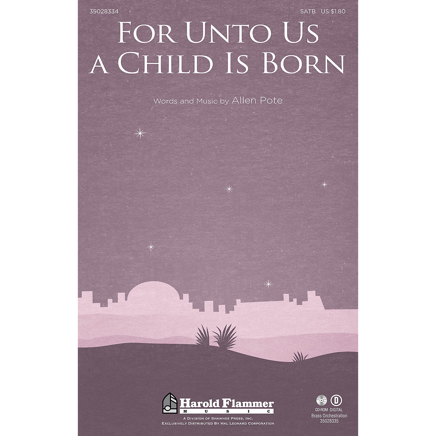 Shawnee Press For Unto Us a Child Is Born SATB, HANDBELLS composed by Allen Pote thumbnail
