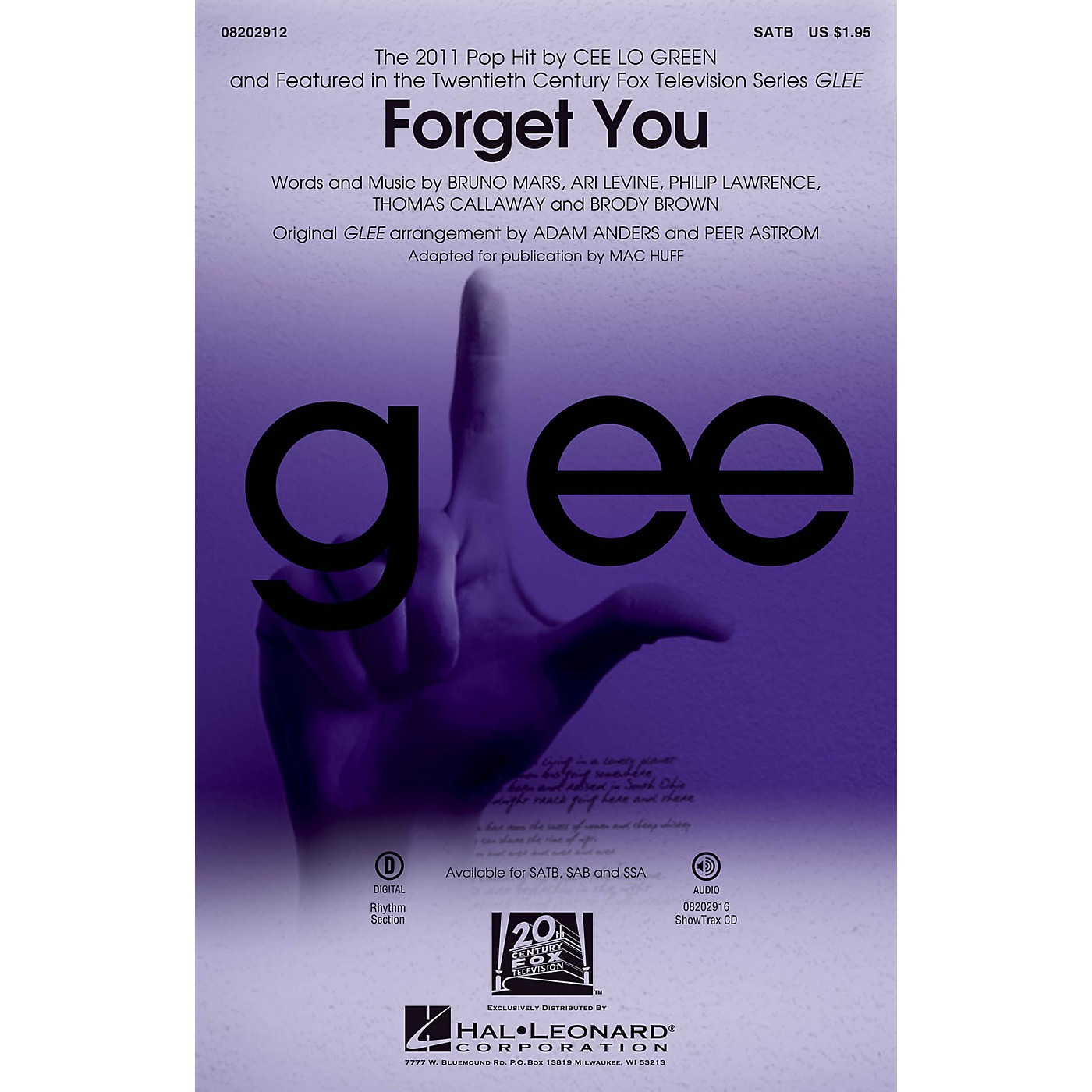 Hal Leonard Forget You (featured on Glee) ShowTrax CD by Cee Lo Green Arranged by Adam Anders thumbnail