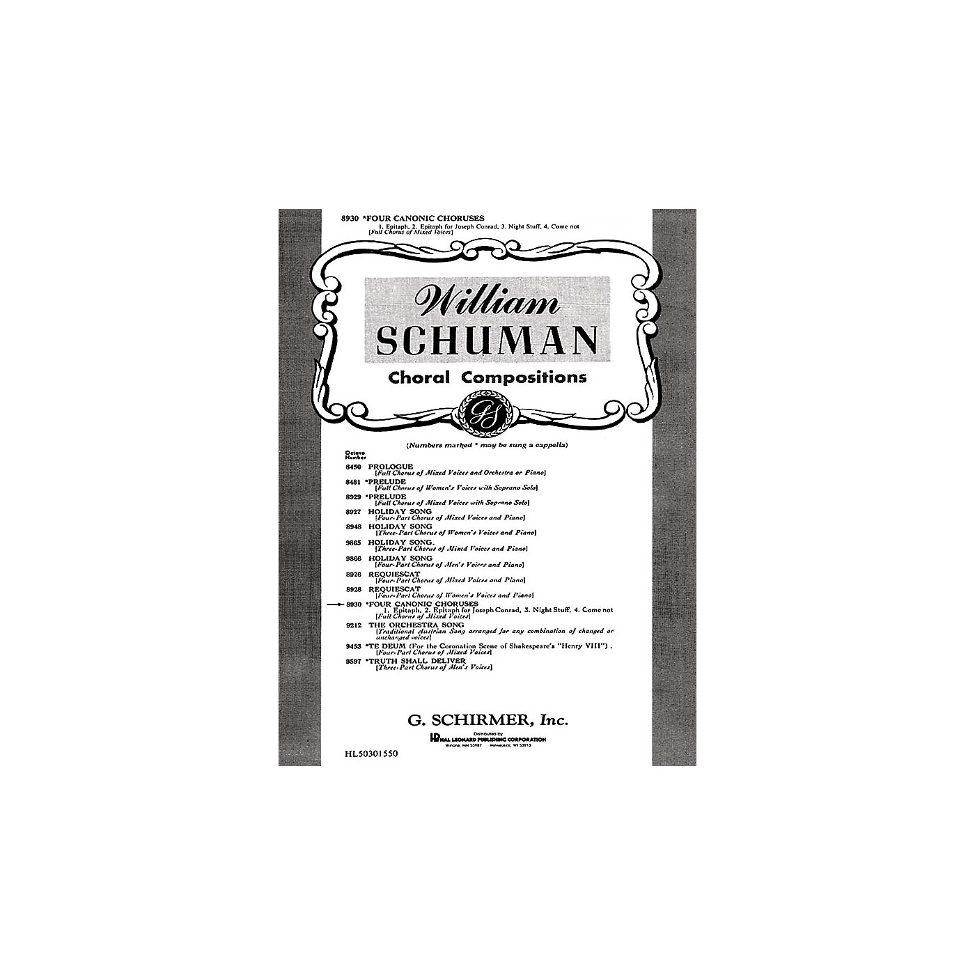 G. Schirmer Four Canonic Choruses Unaccompanied A Cappella SATB composed by W Schuman thumbnail