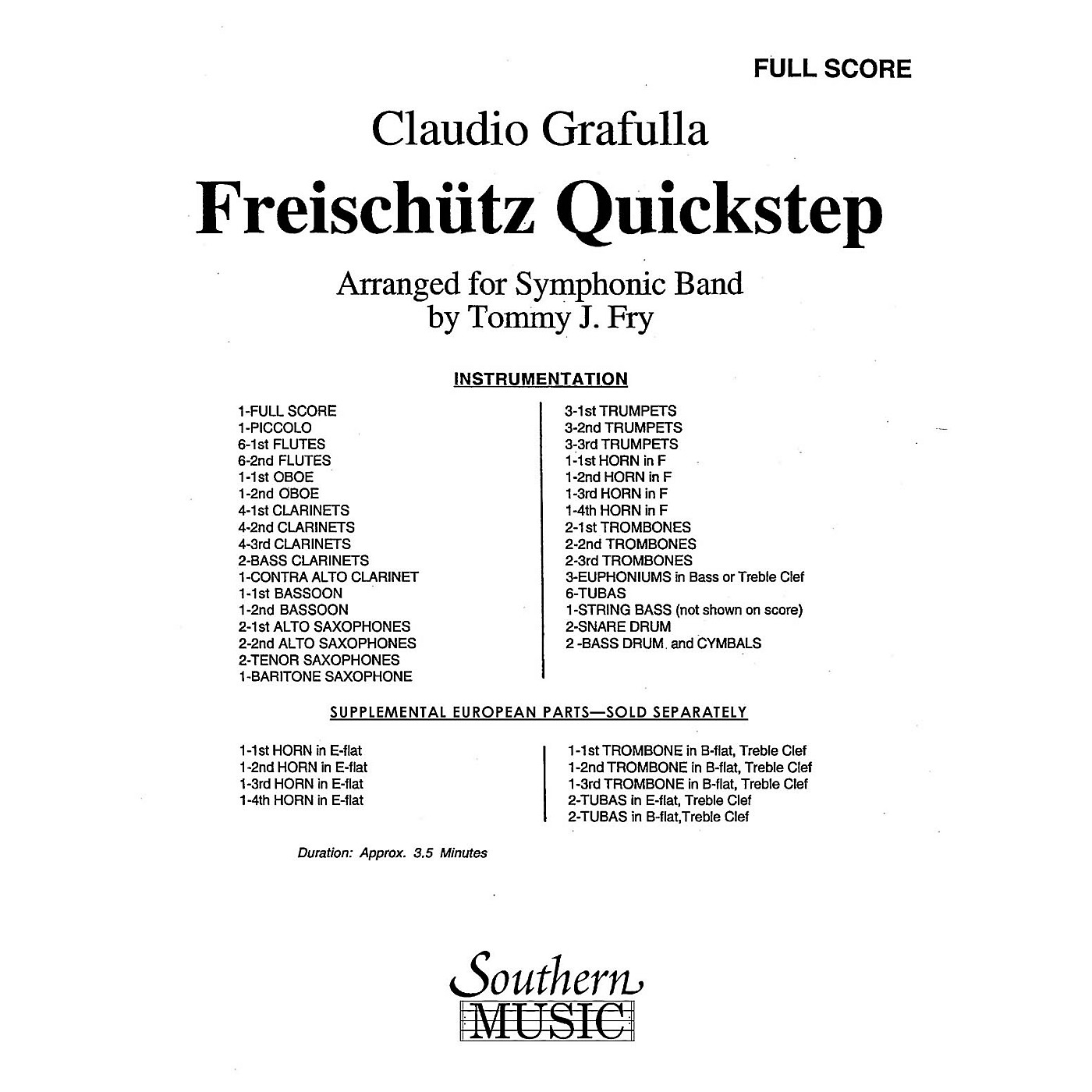 Southern Freischutz Quickstep (Band/Concert Band Music) Concert Band Arranged by Tommy J. Fry thumbnail